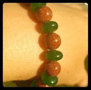 Dojo's Closet Jewelry - Emerald and golden sandstone stretch bracelet